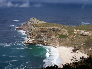 Cape Point looking down from cliffs on the Cape of Good Hope Reserve, South Africa