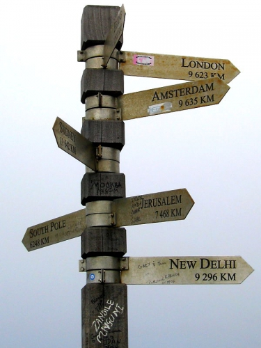 Cape Point sign post showing distances and direction to world cities
