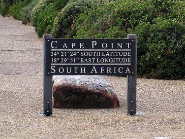 Cape Point latitude and longitude information board, Cape of Good hope, South Africa