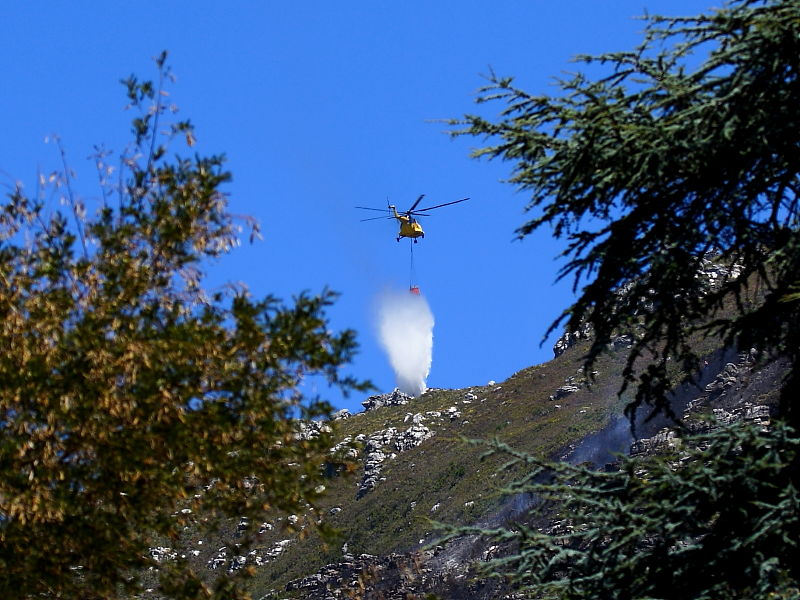 Fire fighting with helecopters on the slopes of Table mountain Cape Town South Africa  © Steve Ogden