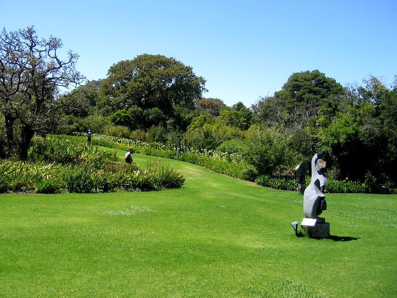 Lawns with sculptures, Kirstenbosch National Botanical Gardens, Cape Town, South Africa © Claire Ogden