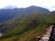Main R44 coastal road around the edge of the Hottentots Holland mountain range, South Africa South Africa