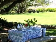 Picnic table at Groote Post winery
