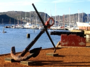 Historic anchor and canon on Simon's Town harbour quay