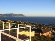 South African holiday apartment - view from balcony across False Bay and the Cape Peninsula