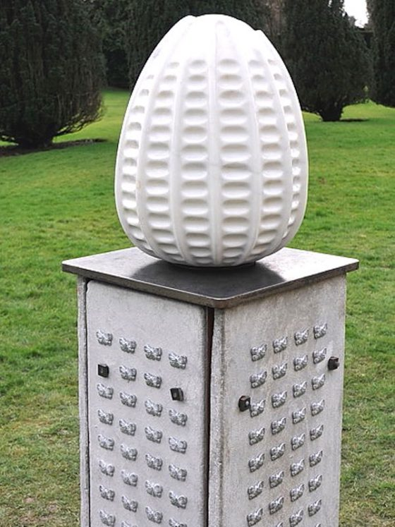 Lost Comrades – a sculpture of a Small Pearl-bordered Fritillary egg by Glenn Morris